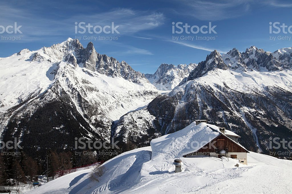Ski Patrollers Hut, Chamonix, Mont Blanc stock photo