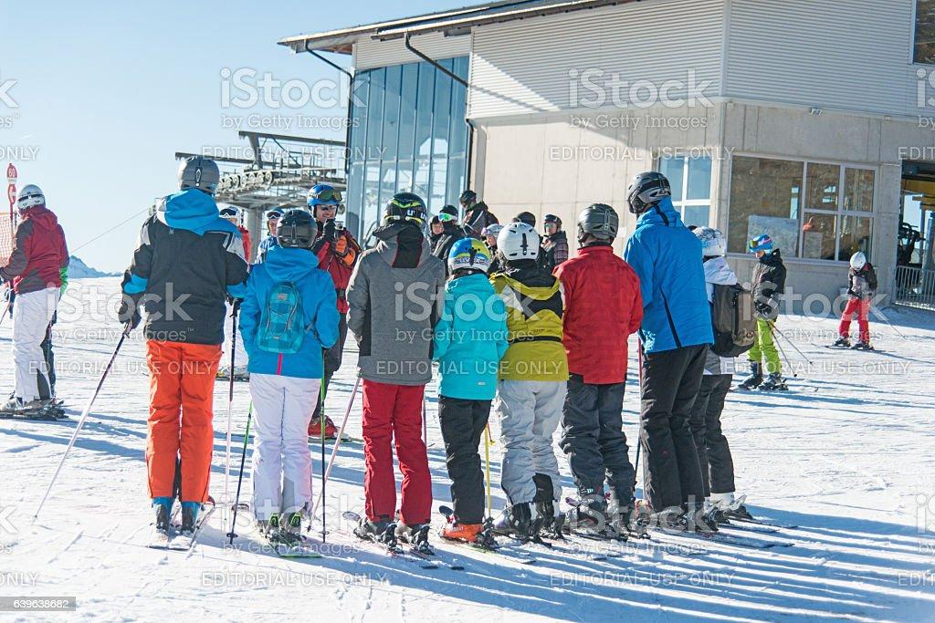 ski people on snowy mountain peaks at zillertal stock photo