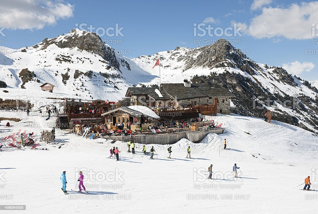 Ski Piste and Mountain Restaurant above Les Arcs France stock photo
