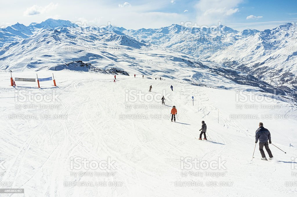 Ski Piste at Meribel stock photo