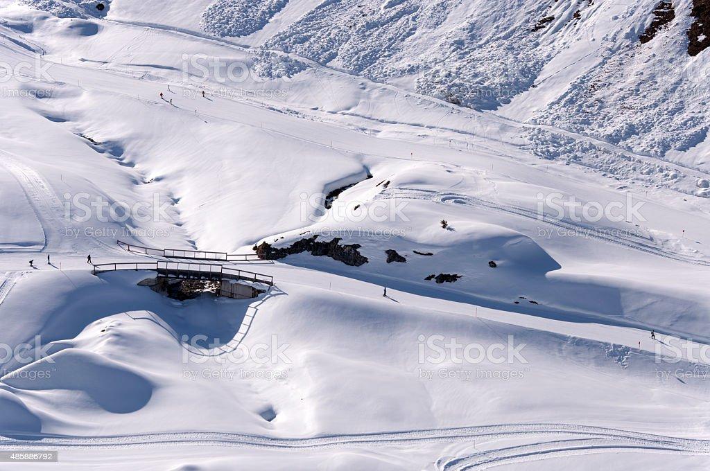 Ski pistes in Alps stock photo