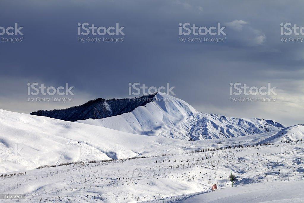 Ski resort and sky before storm stock photo