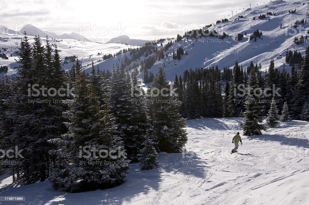 ski resort and snowboarder stock photo