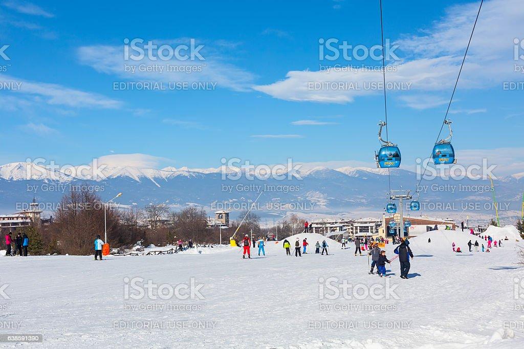 Ski resort Bansko, Bulgaria, people, mountains view stock photo