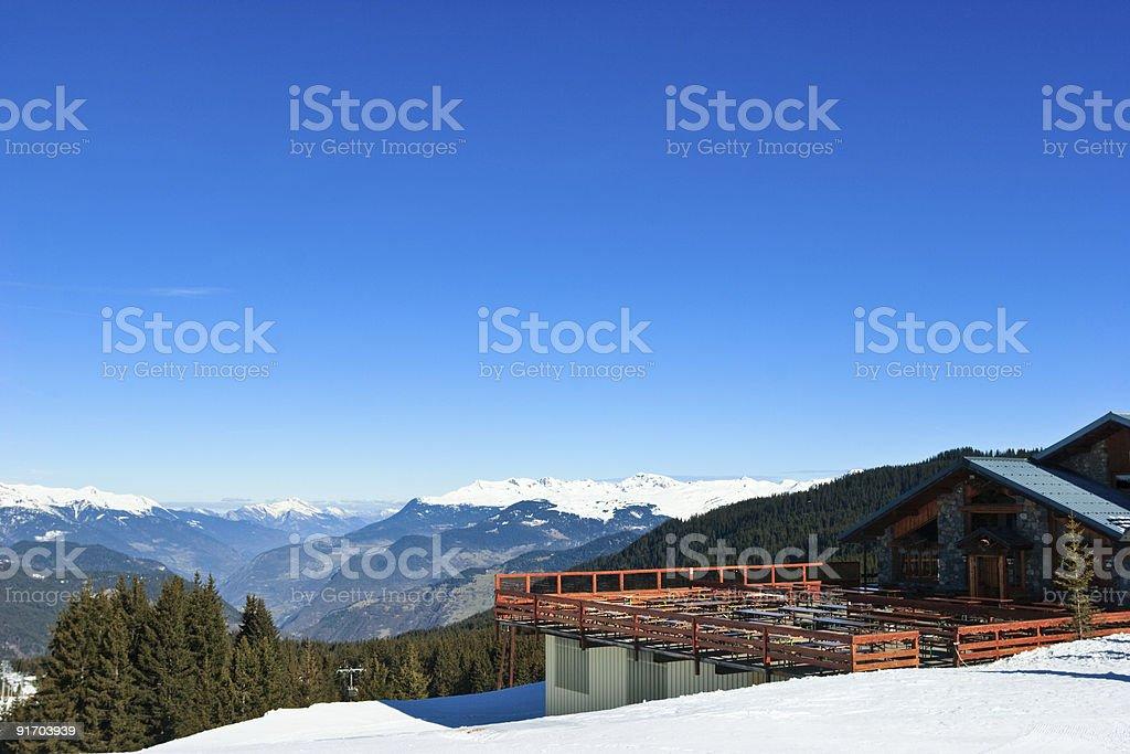 Ski resort chalet stock photo
