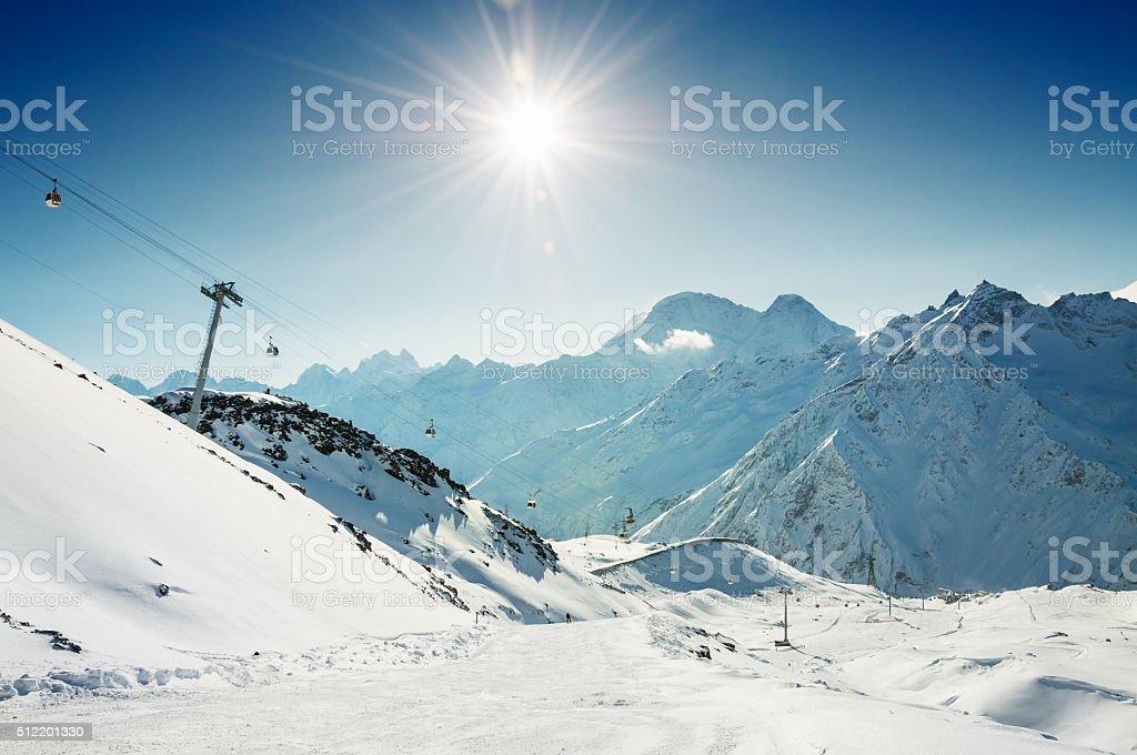 Ski resort Elbrus. Caucasus, Russian Federation. stock photo