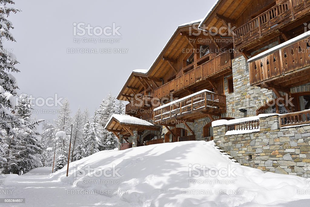 Ski resort hotel in the snow stock photo