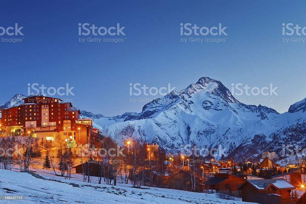 Ski resort in Alps stock photo