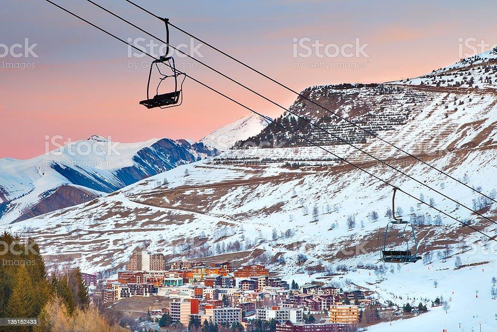 Ski resort in French Alps royalty-free stock photo