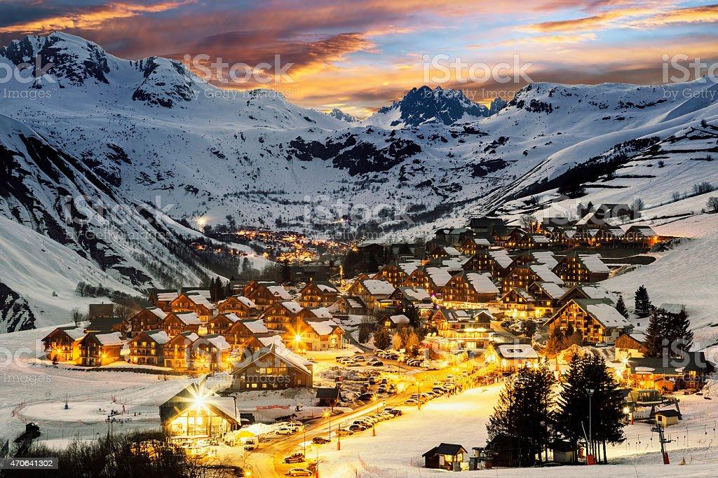 Ski resort in French Alps,Saint jean d'Arves stock photo