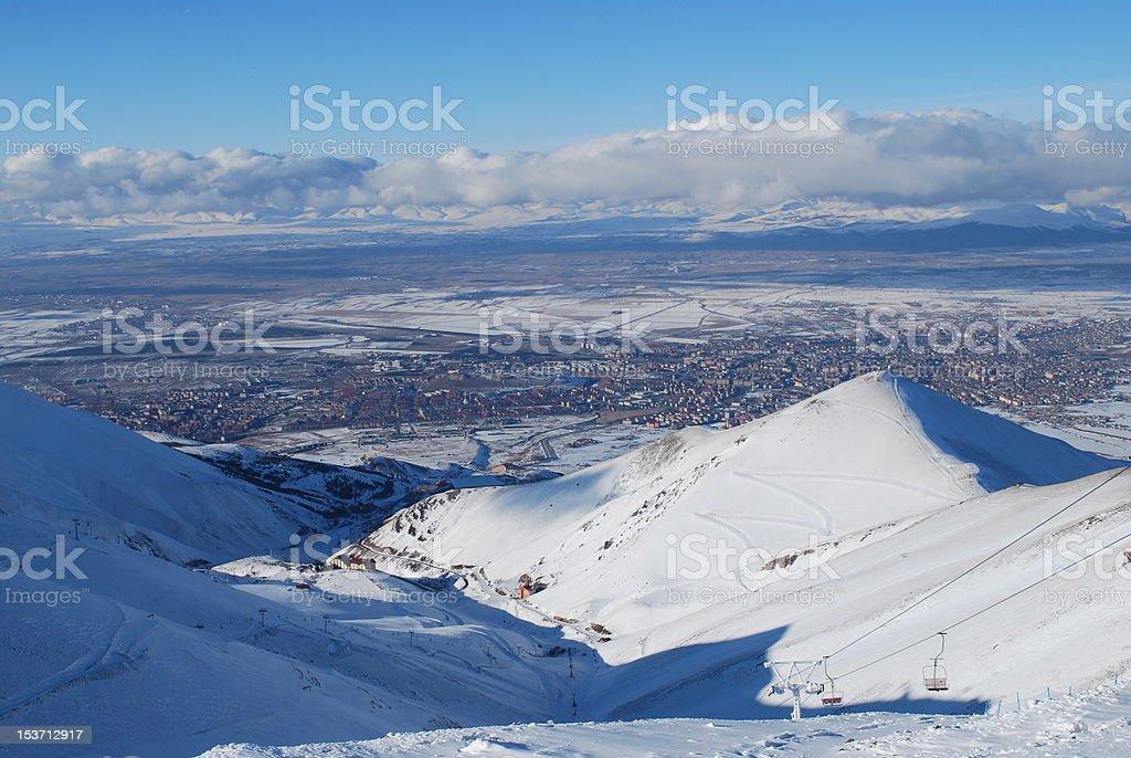 ski resort in snow mountains of Turkey royalty-free stock photo