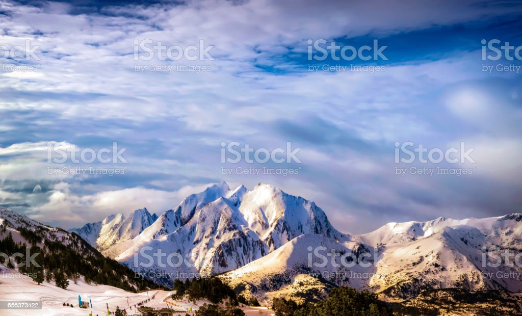 Ski resort in the Pyrenees. stock photo