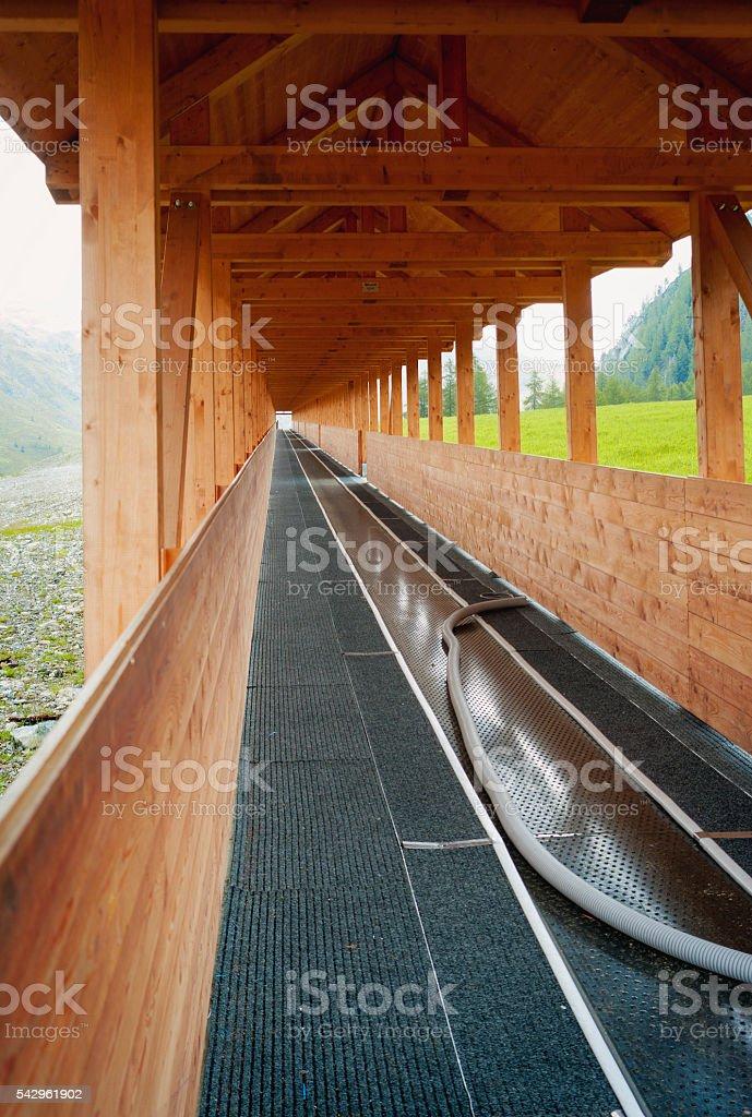 Ski resort in the summer, ski lift. Color image stock photo