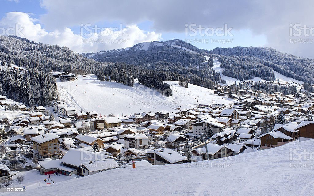 ski resort Les Gets in the French Alps royalty-free stock photo
