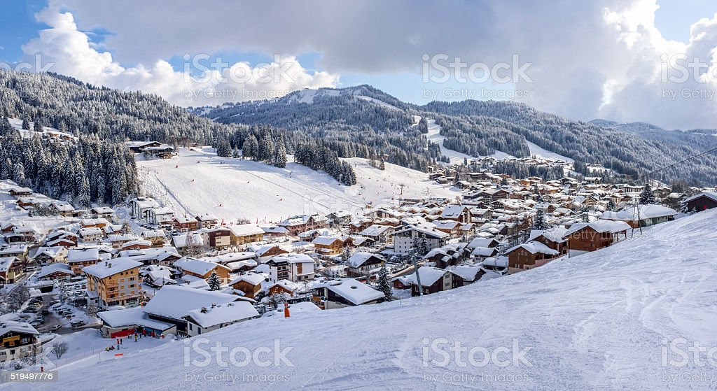 ski resort Les Gets in the French Alps stock photo