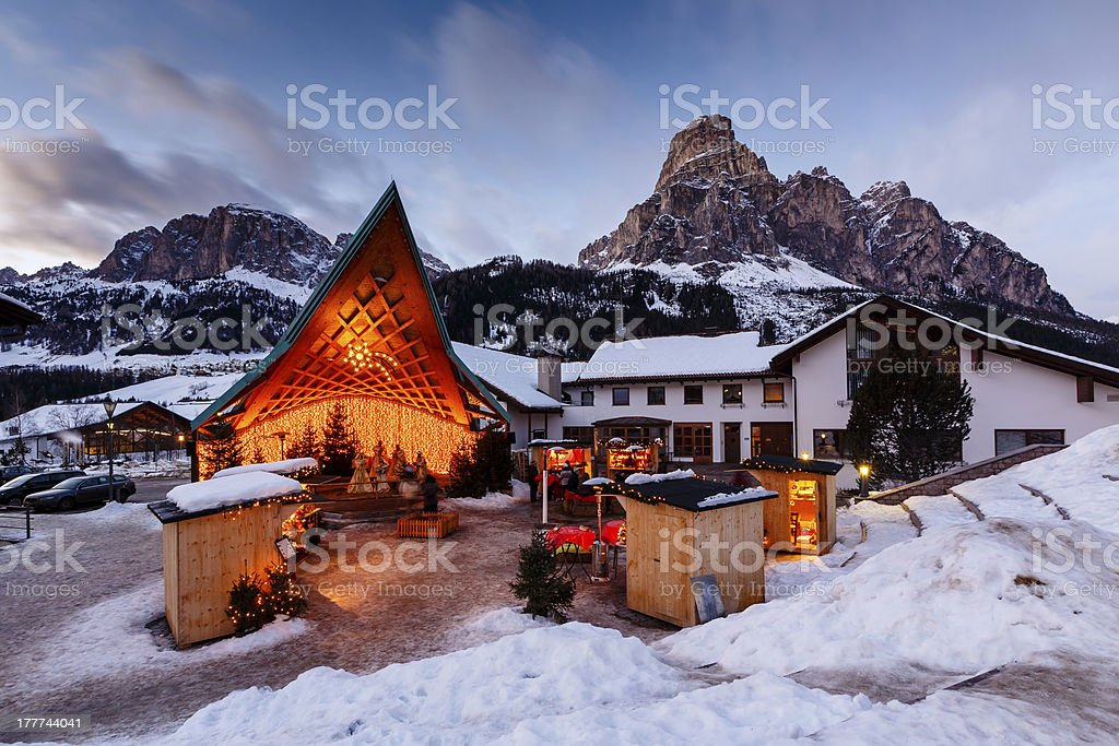 Ski Resort of Corvara at Night, Alta Badia, Dolomites Alps stock photo
