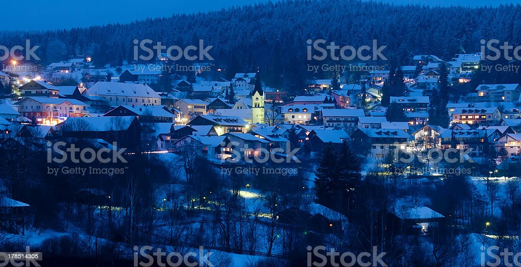 ski resort Sankt Englmar at night stock photo