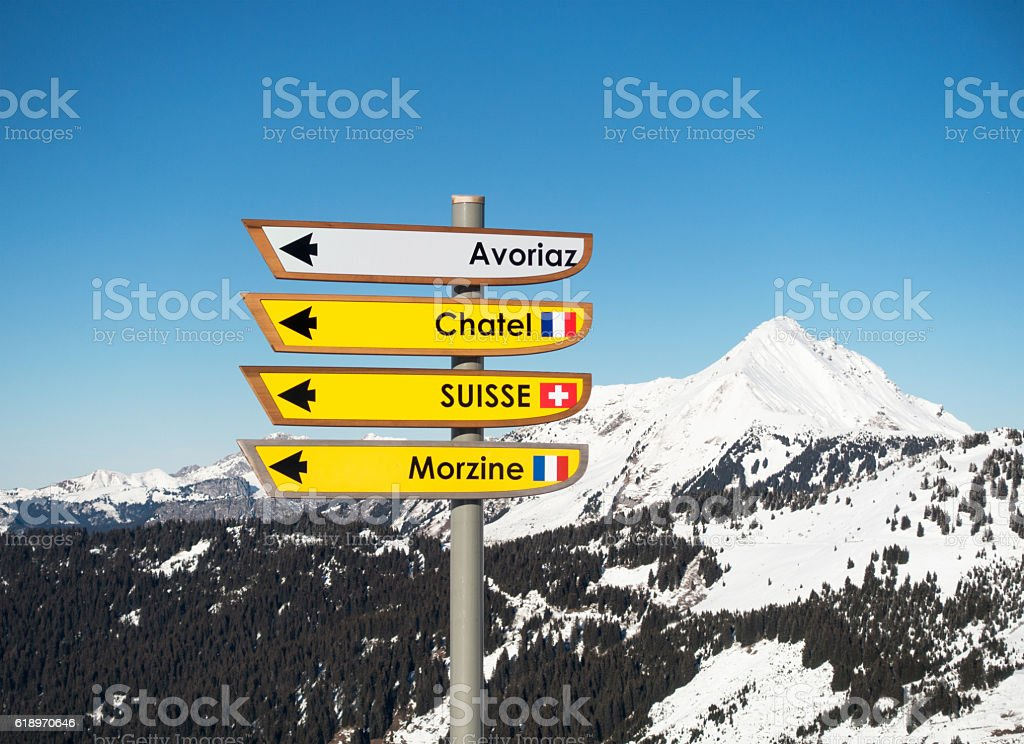 Ski resort signs on the Switzerland France border stock photo