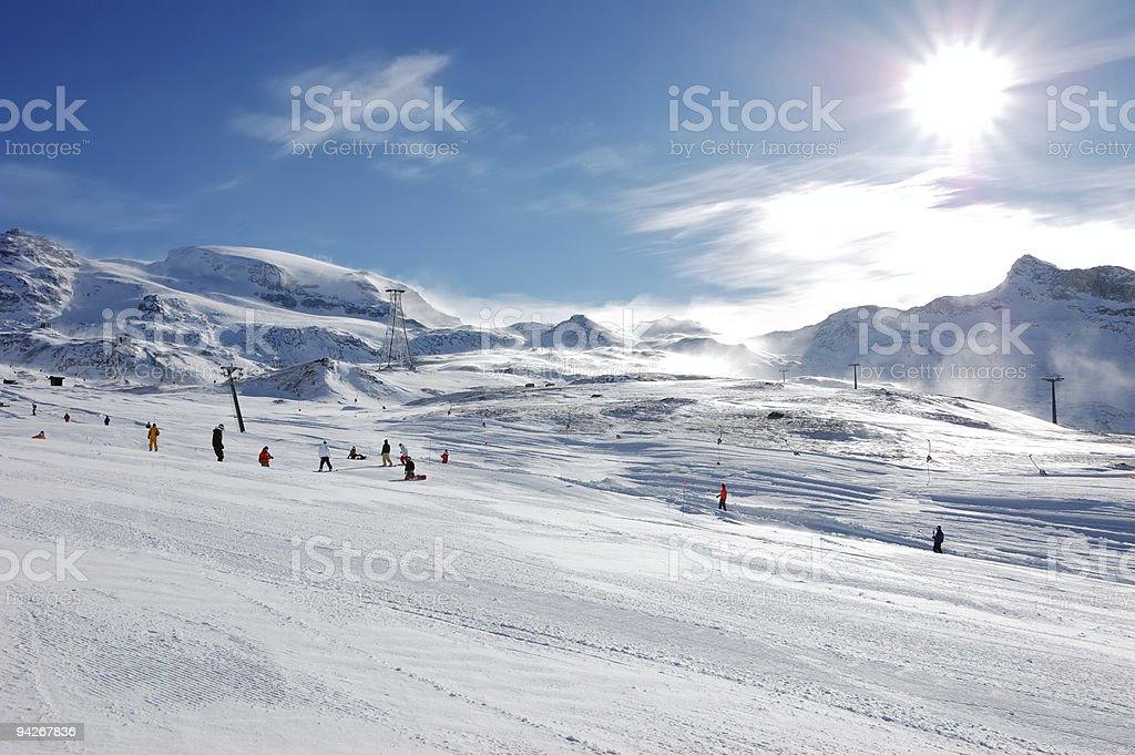 Ski resort slope stock photo