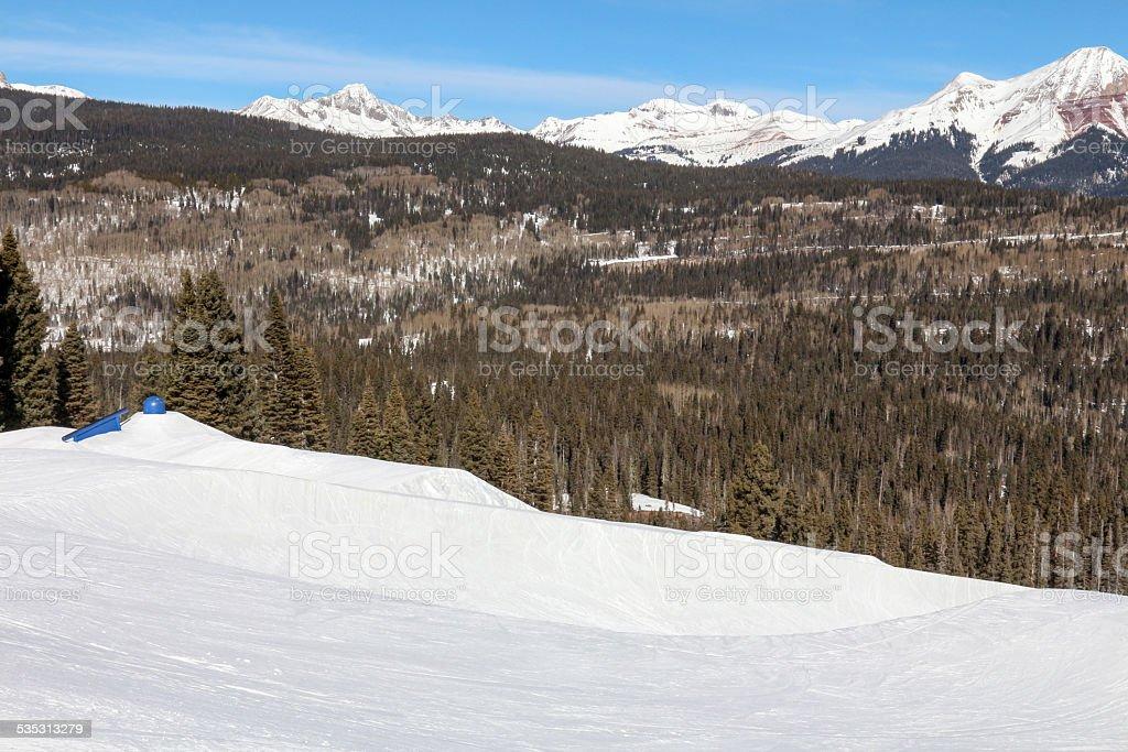 Ski Resort Terrain - Blue Rails Horizontal stock photo