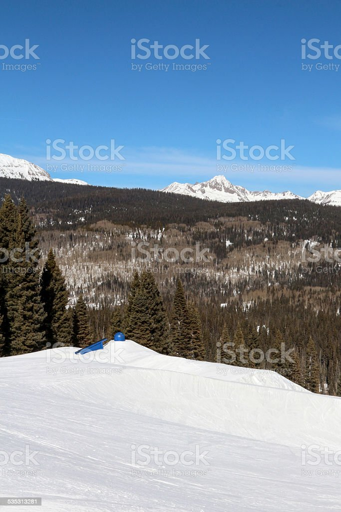 Ski Resort Terrain - Blue Rails Vertical stock photo