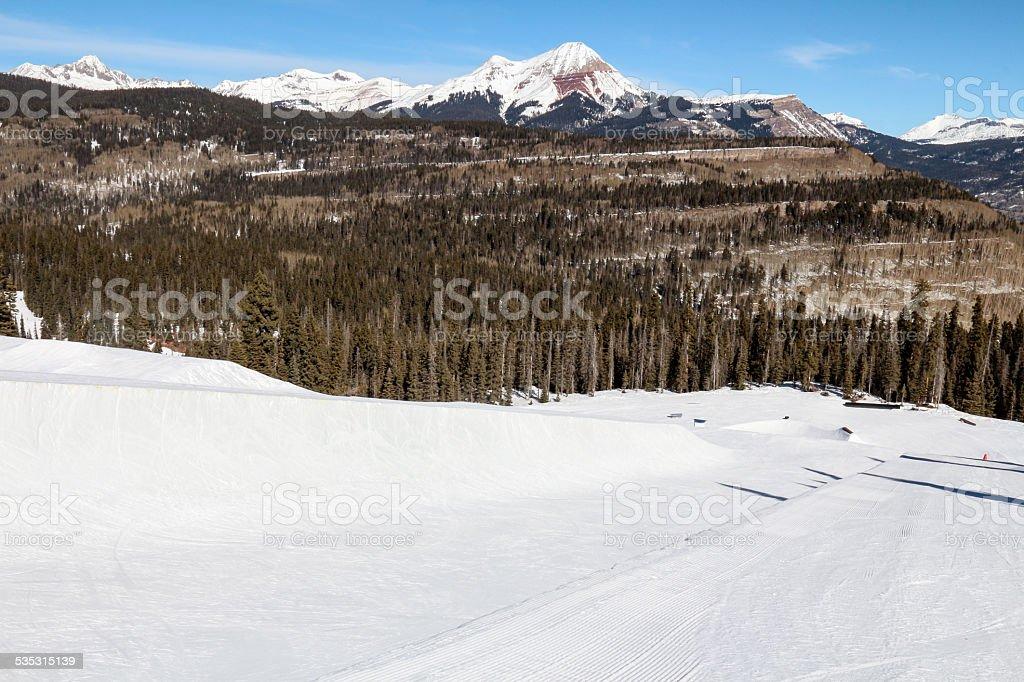 Ski Resort Terrain - Half Pipe Horizontal stock photo
