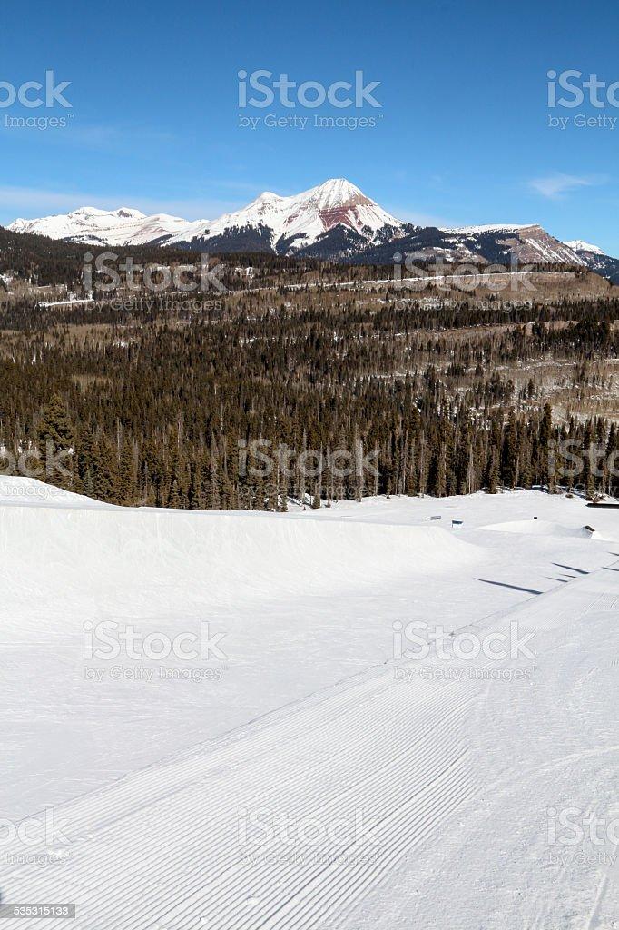 Ski Resort Terrain - Half Pipe Vertical stock photo