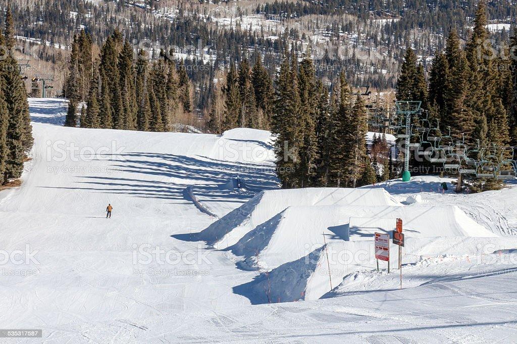 Ski Resort Terrain - Jumps stock photo