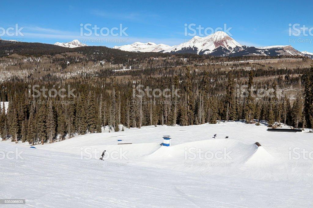 Ski Resort Terrain - Many Rails Horizontal stock photo