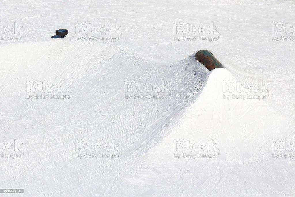 Ski Resort Terrain - Rail and Tire stock photo