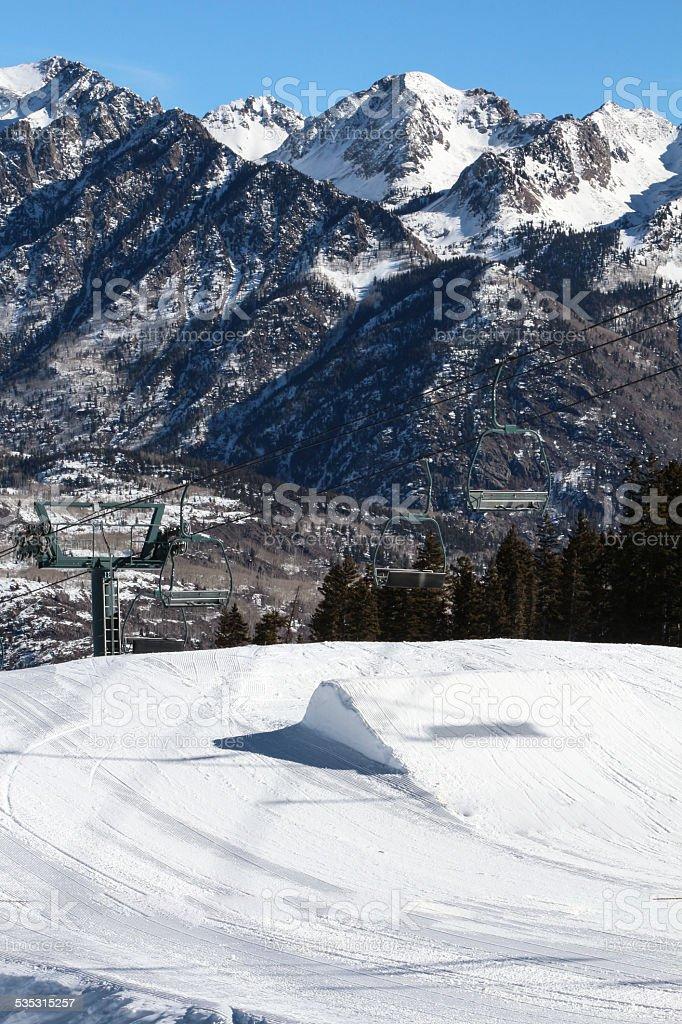 Ski Resort Terrain - Small Jump stock photo