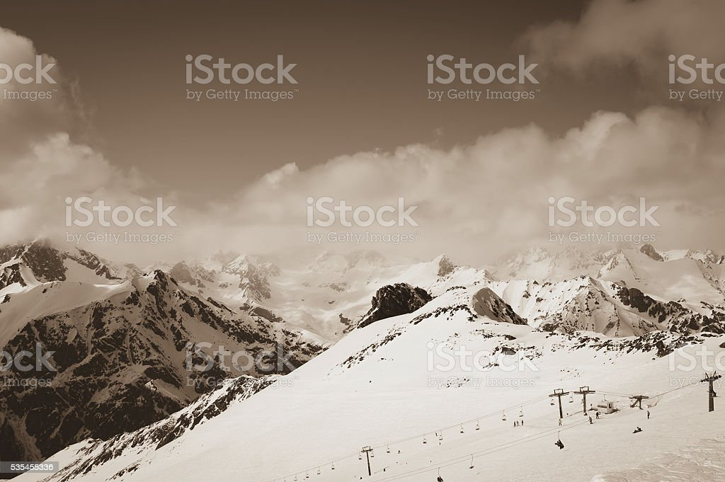 Ski resort. Toned landscape. stock photo
