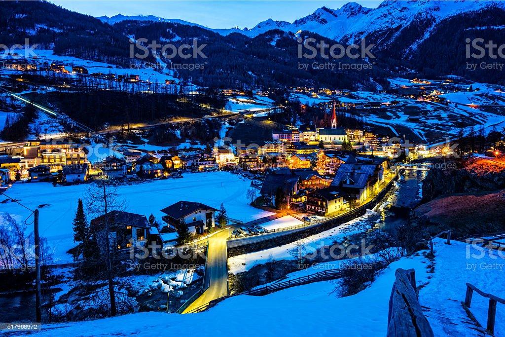 Ski resort town Soelden, Oetztal, Tirol at dusk stock photo