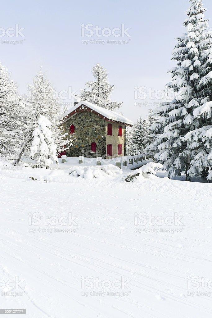 ski run in skiing area Via Lattea, Italy stock photo