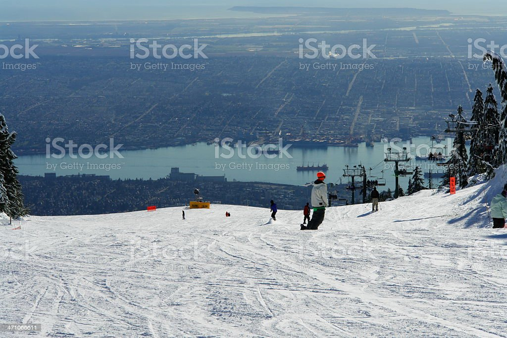 Ski Run With View Of Vancouver royalty-free stock photo