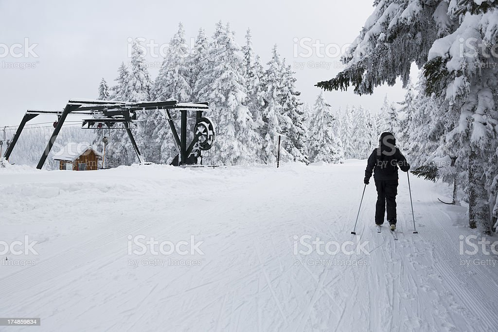 Ski runner on a misty winter day royalty-free stock photo