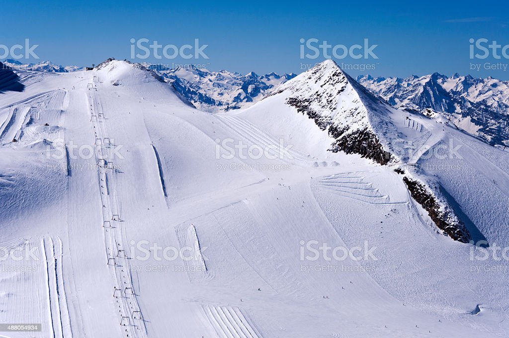 Ski Runs on Hintertux Glacier stock photo