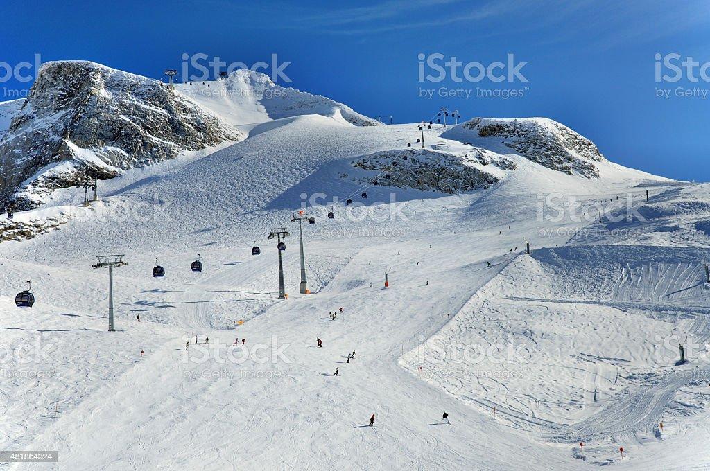 Ski runs on slopes of Hintertux Glacier stock photo