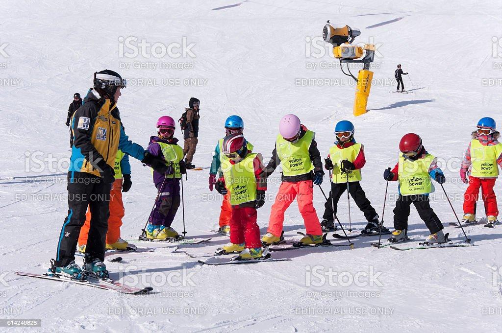 Ski school for children in Solden, Austria stock photo