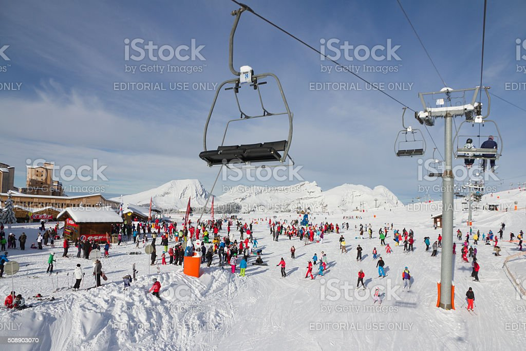 Ski school in Avoriaz stock photo