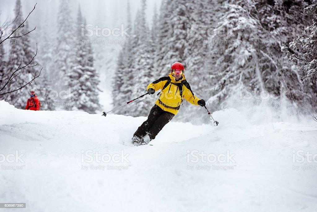 Ski skier off-piste backcountry resort stock photo