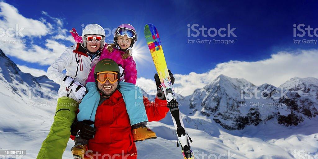 Ski, skier, snow and fun stock photo