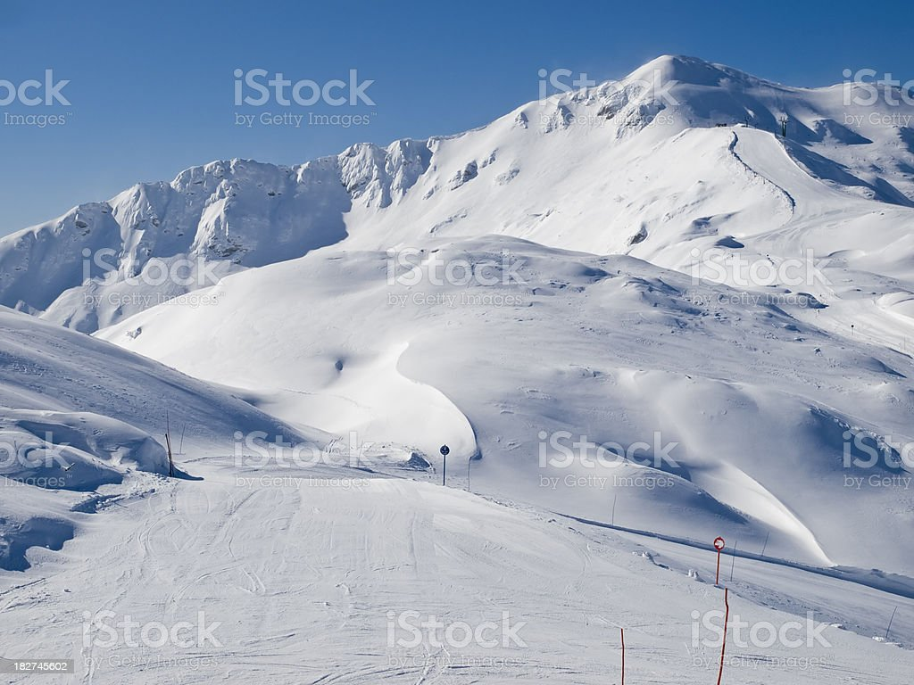Ski slop in mountain no people stock photo