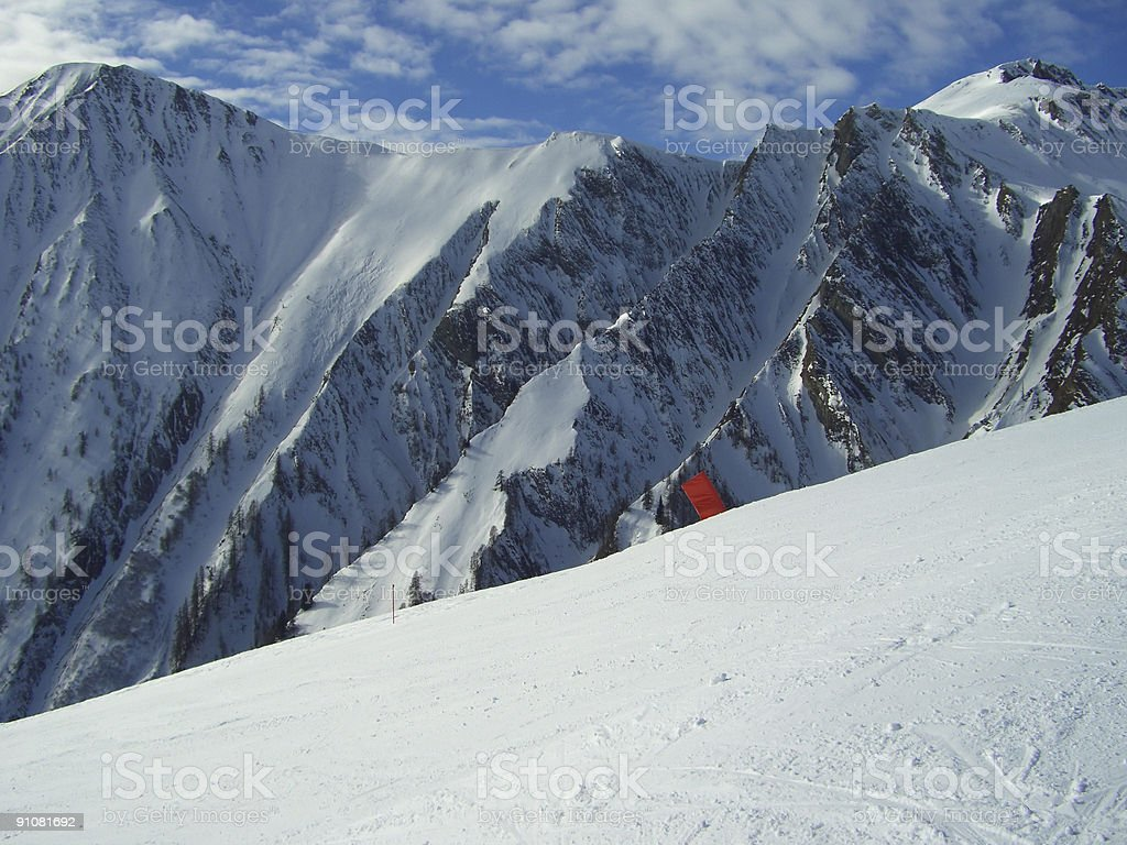 Ski Slope and Alpine View stock photo