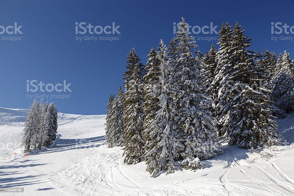 Ski Slope and Beautiful Landscape in Megeve, French Alps royalty-free stock photo