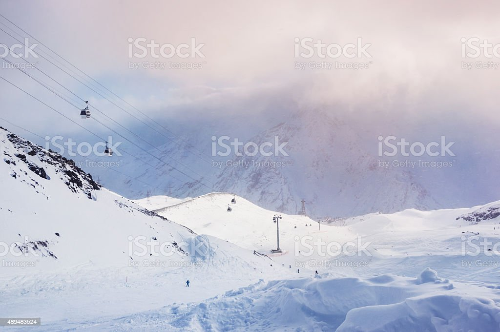 Ski slope and cable car on the ski resort Elbrus stock photo