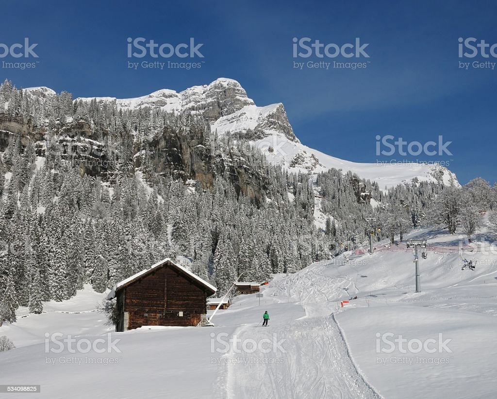 Ski slope and Eggstock stock photo