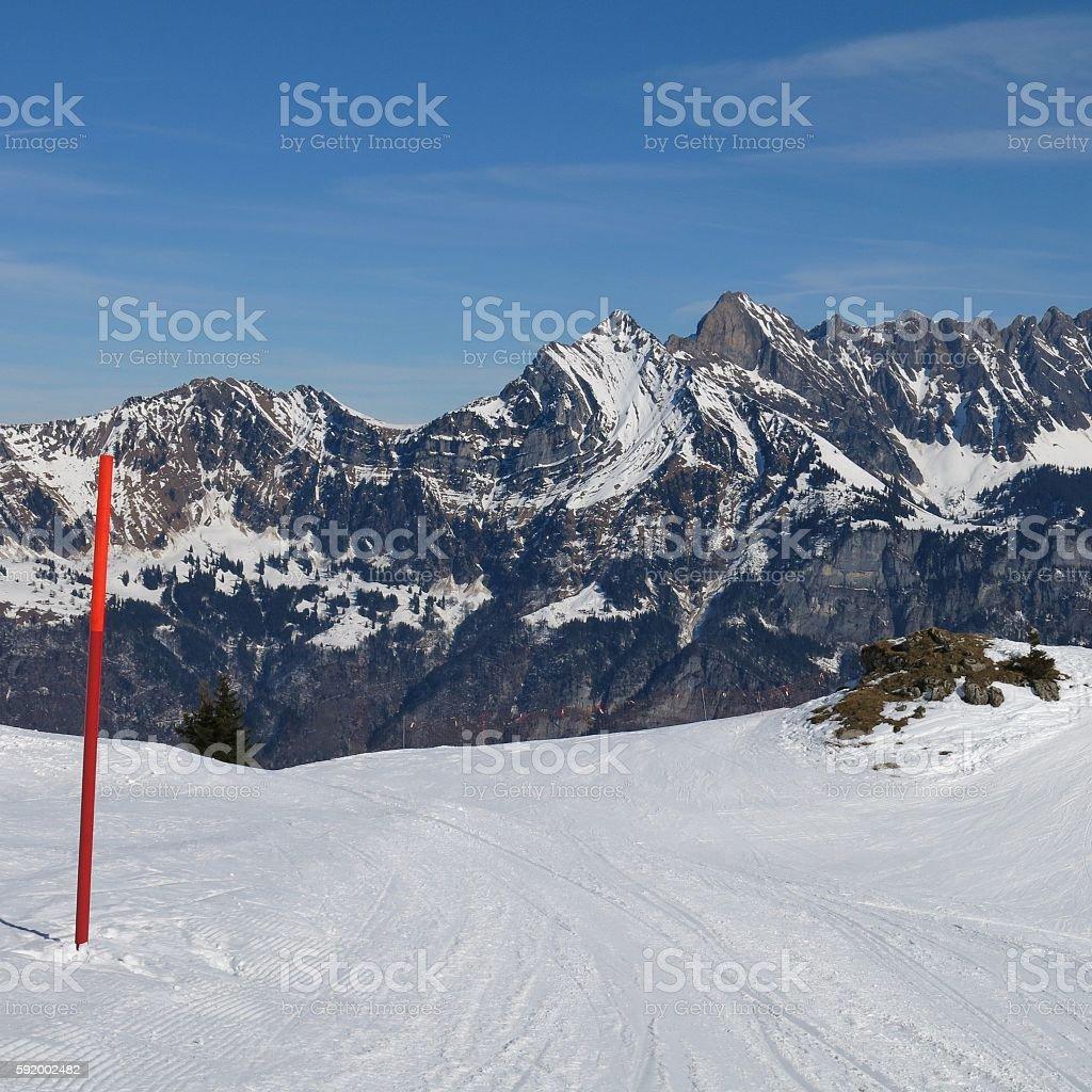 Ski slope and mountains of the Churfirsten Range stock photo