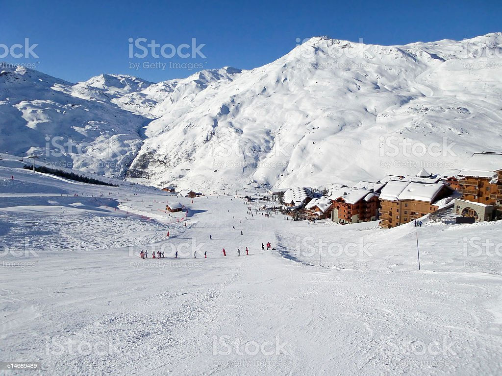 Ski slope at Les Menuires, the Alps, France stock photo