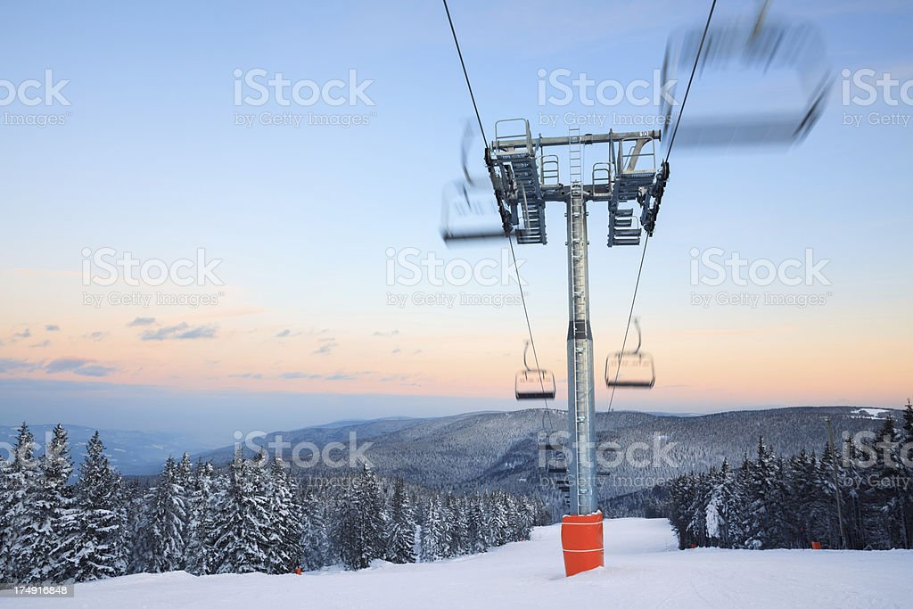 Ski Slope At Sunset royalty-free stock photo
